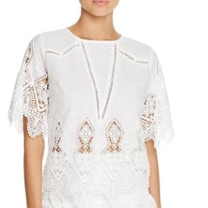 Anthropologie Suboo White Crochet Swim Cover Top